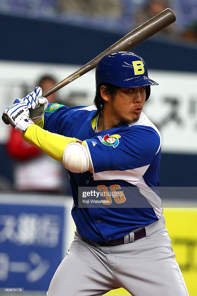 Designated hitter Reinaldo Sato #36 of Brazil in action during the friendly game between Orix Buffaloes and Brazil at Kyocera Dome Osaka on February 26, 2013 in Osaka, Japan.