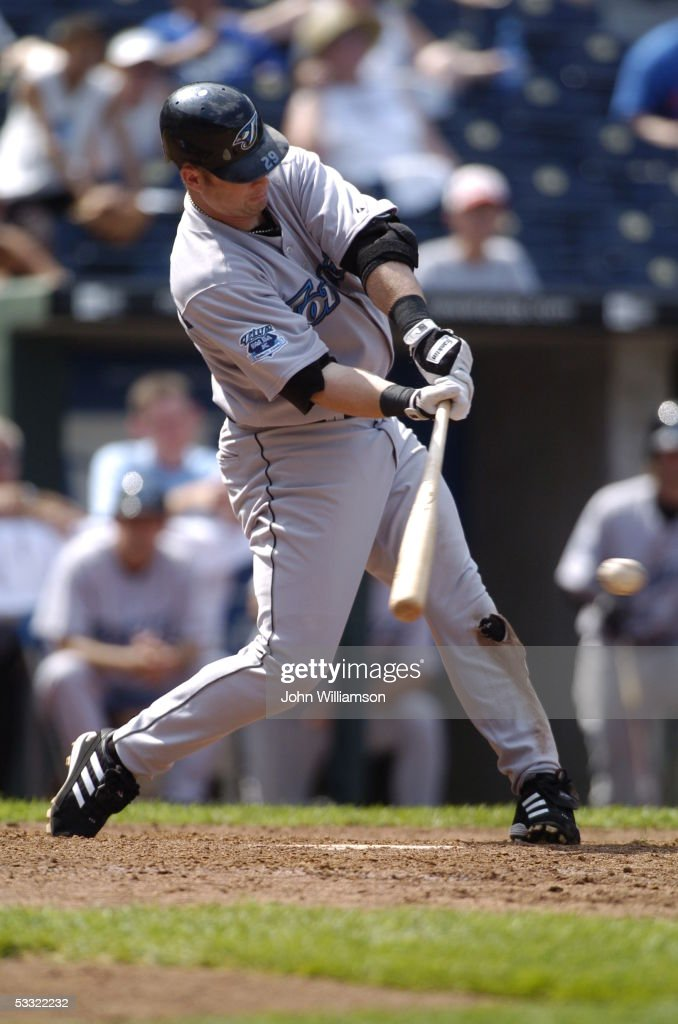 Designated hitter Shea Hillenbrand of the Toronto Blue Jays bats during the game against the Kansas City Royals at Kauffman Stadium on July 24 2005...