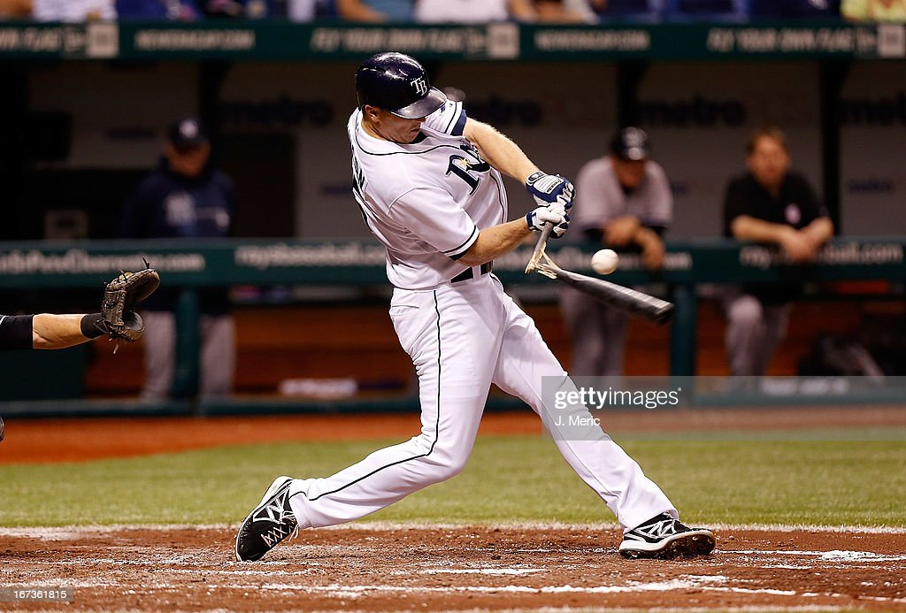 Designated hitter <a gi-track='captionPersonalityLinkClicked' href=/galleries/search?phrase=Shelley+Duncan&family=editorial&specificpeople=3906612 ng-click='$event.stopPropagation()'>Shelley Duncan</a> #15 of the Tampa Bay Rays breaks his bat on a pitch from <a gi-track='captionPersonalityLinkClicked' href=/galleries/search?phrase=Andy+Pettitte&family=editorial&specificpeople=201753 ng-click='$event.stopPropagation()'>Andy Pettitte</a> #46 of the New York Yankees during the game at Tropicana Field on April 24, 2013 in St. Petersburg, Florida.