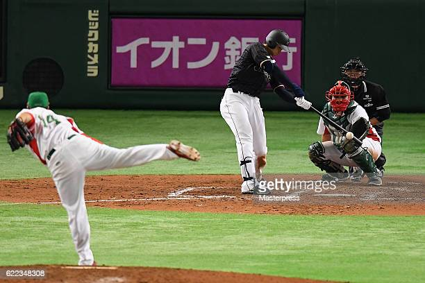 Designated hitter Shohei Ohtani of Japan flies out in the sixth inning during the international friendly match between Mexico and Japan at the Tokyo...