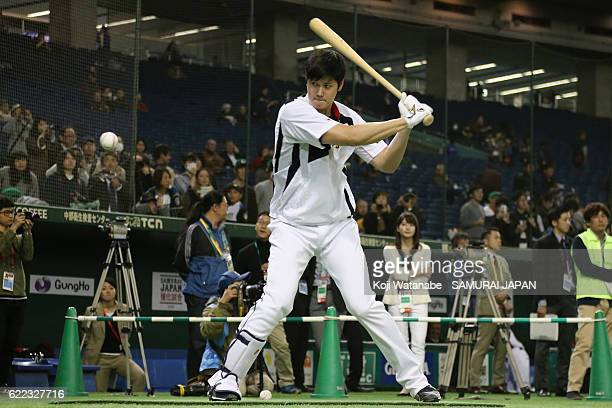 Designated hitter Shohei Ohtani of Japan in action prior to the international friendly match between Mexico and Japan at the Tokyo Dome on November...