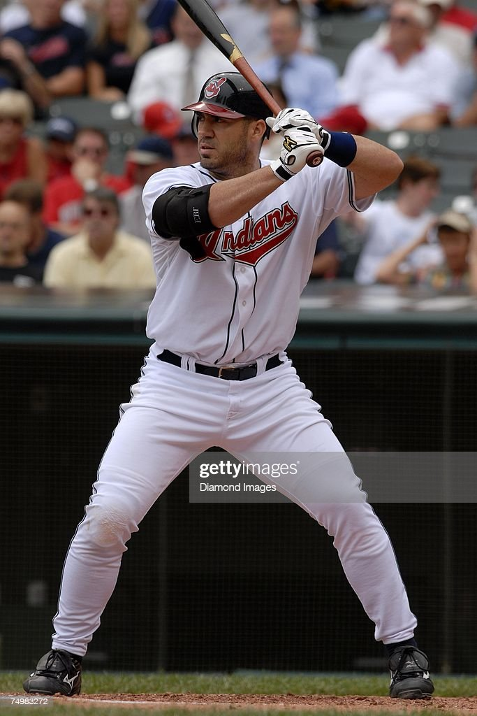 Designated hitter Travis Hafner bats during the Cleveland Indians game versus the Oakland Athletics on Thursday June 28 2007 at Jacob's Field in...