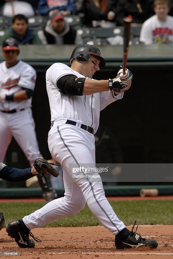 Designated hitter Travis Hafner bats during the Cleveland Indians game versus the Minnesota Twins on May 17 2007 at Jacob's Field in Cleveland Ohio...