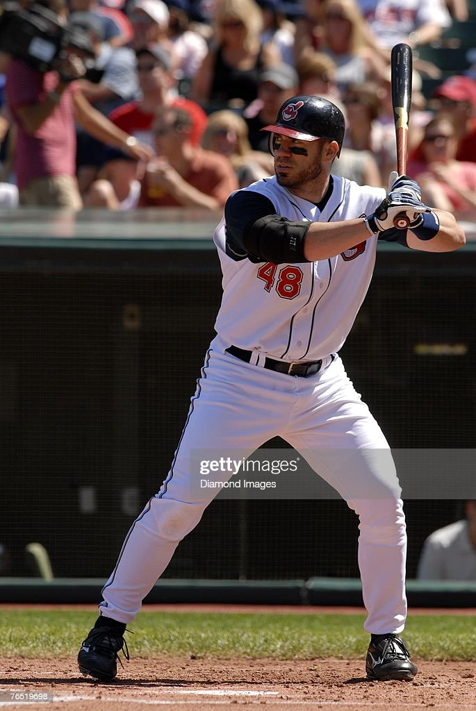 Designated hitter Travis Hafner of the Cleveland Indians bats during a game versus the Chicago White Sox on Sunday September 2 2007 at Jacobs Field...