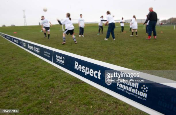 Designated Spectator Area Barriers during the FA Respect Barrier Launch at Holgate Sports College Barnsley