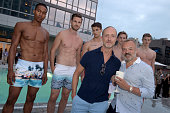Designer Adam Brown and Graham Norton pose with models at Orlebar Brown presents the Spring/Summer 2017 Collection in partnership with Bold New York...