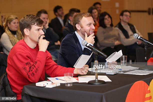 Designer Adam Selman and Parsons School of Fashion dean Burak Cakmak watch as students at Parsons School of Design compete in the MasterCard Fashion...