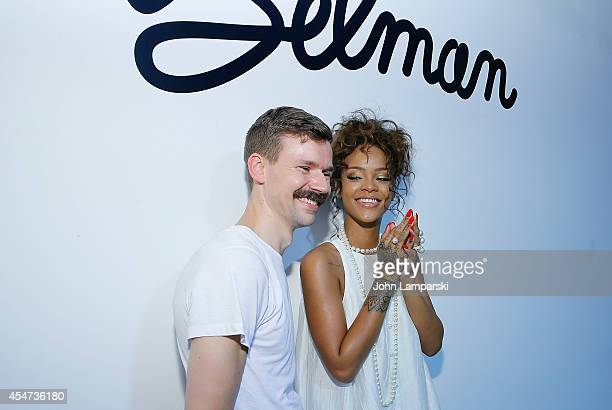 Designer Adam Selman and Singer Rhianna attend the Adam Selman Presentation MercedesBenz Fashion Week Spring 2015 at Algus Greenspon Gallery on...