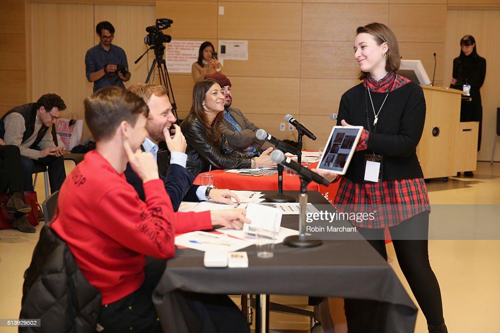 Designer Adam Selman Parsons School of Fashion dean Burak Cakmak Senior Vice President of Digital Payments and Labs for MasterCard Sherri Haymond and...