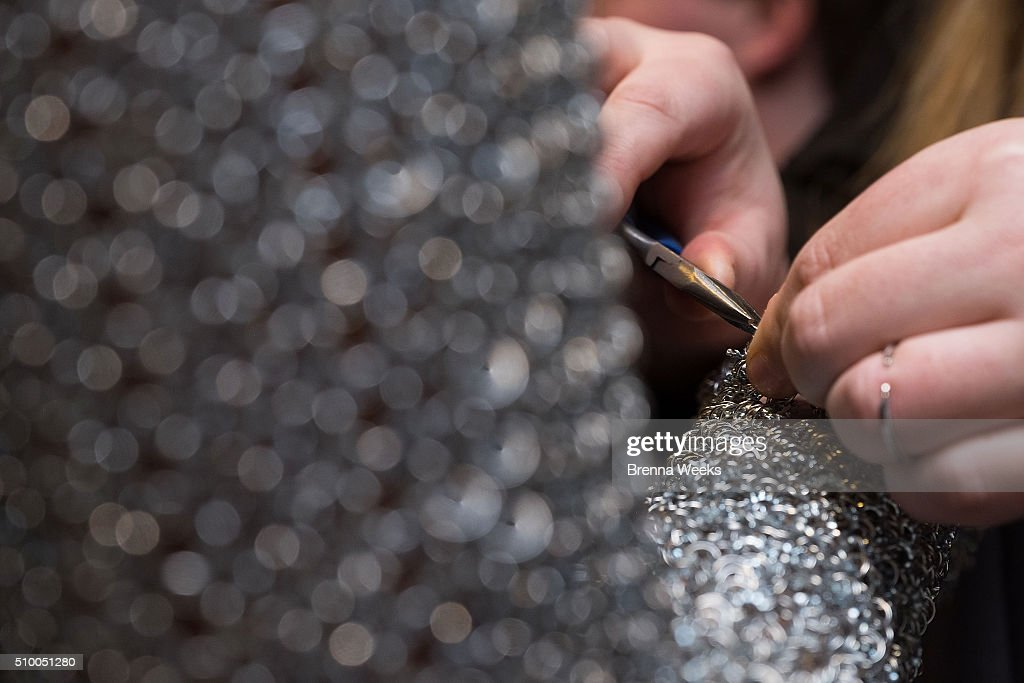 A designer adds final touches before the Emerging Designers Fall 2016 Fashion Show during New York Fashion Week on February 13, 2016 in New York City.