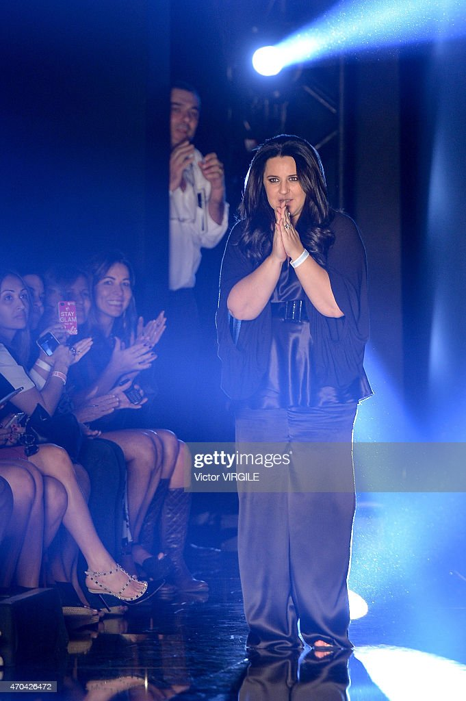 Designer Adriana Degreas walks the runway at the Adriana Degreas show during the SPFW Summer 2016 at Parque Candido Portinari on April 17 2015 in Sao...
