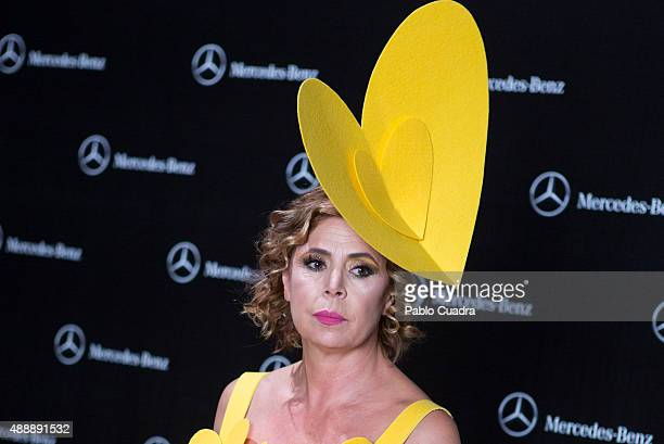 Designer Agatha Ruiz de la Prada is seen at the backstage before the Agatha Ruiz de la Prada fashion show during the MercedesBenz Fashion Week at...