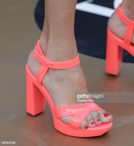 Designer Agatha Ruiz de la Prada shoes detail attends the 'Yo Donna International Awards' photocall at Duques de Pastrana palace on June 19 2017 in...