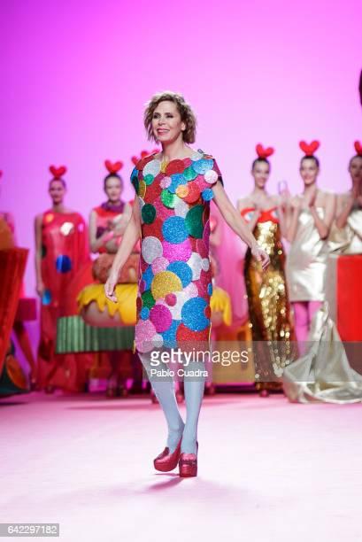Designer Agatha Ruiz de La Prada walks the runway at the Agatha Ruiz de La Prada show during the MercedesBenz Madrid Fashion Week Autumn/Winter 2017...