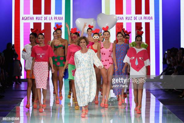Designer Agatha Ruiz de la Prada walks the runway with her models at Agatha Ruiz de la Prada fashion show at the Miami Fashion Week at Ice Palace...