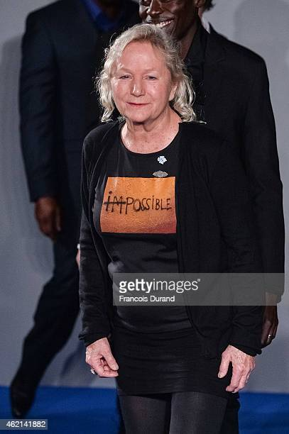 Designer Agnes B acknowledges the audience during the Agnes B Menswear Fall/Winter 20152016 show as part of Paris Fashion Week on January 25 2015 in...