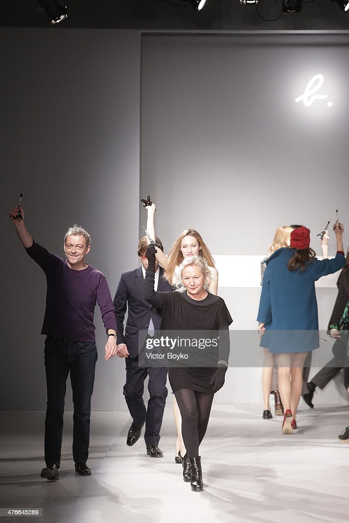 Designer Agnes B walks the runway during the Agnes B show as part of the Paris Fashion Week Womenswear Fall/Winter 2014-2015 on March 4, 2014 in Paris, France.