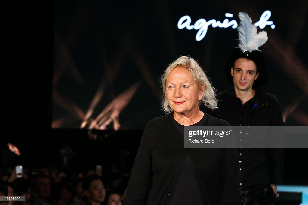 Designer Agnes B walks the runway during the Agnes B. show as part of the Paris Fashion Week Womenswear Spring/Summer 2016 at Palais de Tokyo on October 6, 2015 in Paris, France.