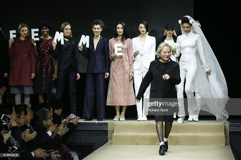 Designer Agnes B walks the runway during the Agnes B show as part of the Paris Fashion Week Womenswear Fall/Winter 2016/2017 on March 8, 2016 in Paris, France.