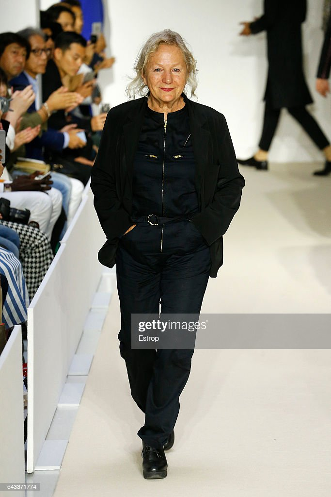 designer Agnes Trouble walks the runway during the Agnes B. Menswear Spring/Summer 2017 show designed by Agnes Trouble as part of Paris Fashion Week on June 26, 2016 in Paris, France.