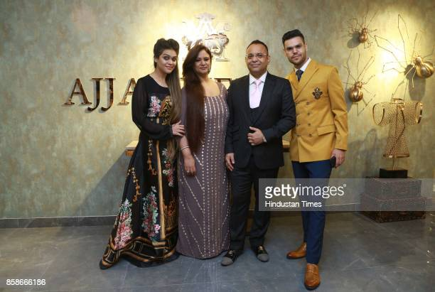 Designer Ajjay Mehrra and Divya Israni Ssunita Mehrra and Kriissna Mehrra during the launch of a new menswear store at South Extension 1 on October 2...