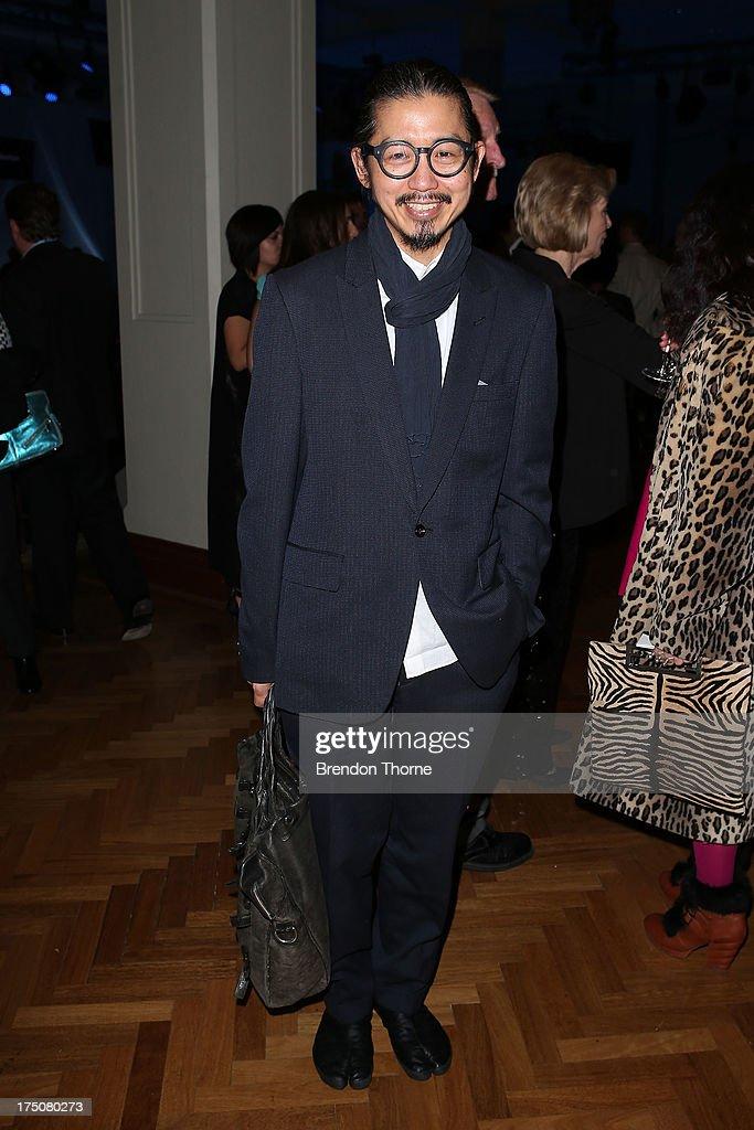 Designer Akira Isogawa arrives at the David Jones Spring/Summer 2013 Collection Launch at David Jones Elizabeth Street on July 31 2013 in Sydney...