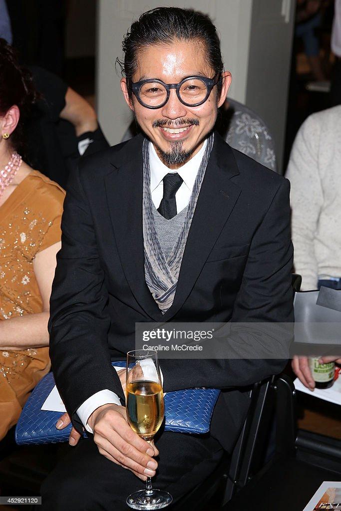 Designer Akira Isogawa arrives at the David Jones Spring/Summer 2014 Collection Launch at David Jones Elizabeth Street Store on July 30 2014 in...