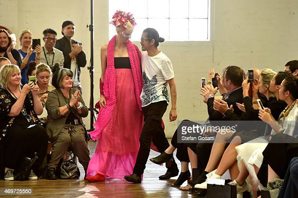 Designer Akira Isogawa thanks the audience following the Akira show at MercedesBenz Fashion Week Australia 2015 at Carriageworks on April 15 2015 in...