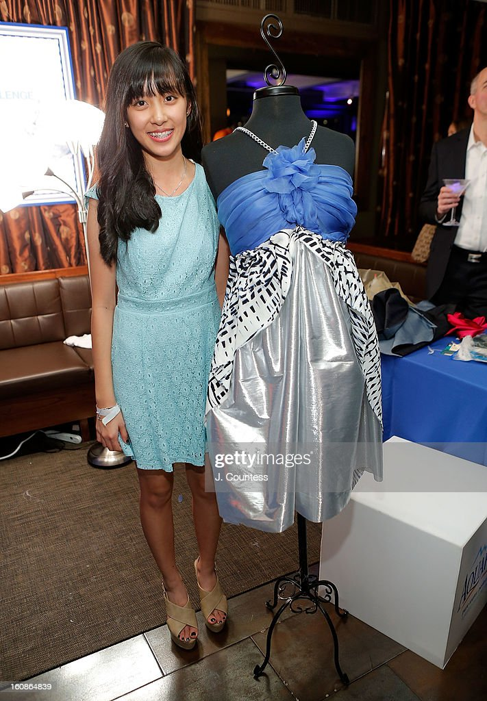 Designer Alaina Thai with her design during the Aquafina 'Pure Challenge' at the Aquafina 'Pure Challenge' After Party at The Empire Hotel Rooftop on February 6, 2013 in New York City.