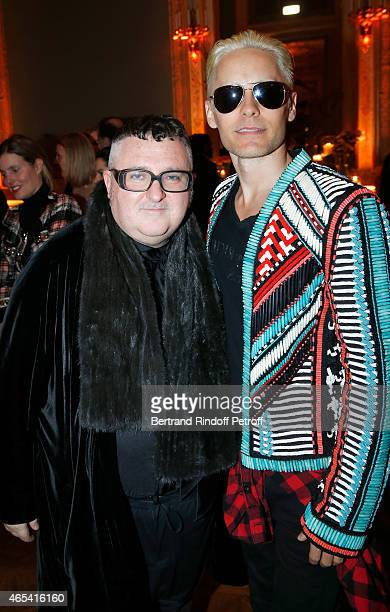 Designer Alber Elbaz and Jared Leto attend the Swarovski X Lanvin Cocktail Party at ShangriLa Hotel Paris on March 6 2015 in Paris France