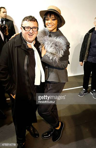 Designer Alber Elbaz greets singer Rihanna in the backstage area prior to the Lanvin show as part of the Paris Fashion Week Womenswear Fall/Winter...