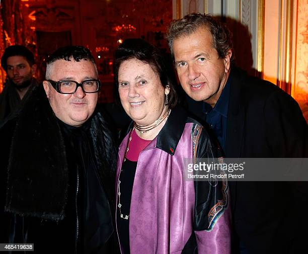 Designer Alber Elbaz Vogue Editor Suzy Menkes and photographer Mario Testino attend the Swarovski X Lanvin Cocktail Party at ShangriLa Hotel Paris on...