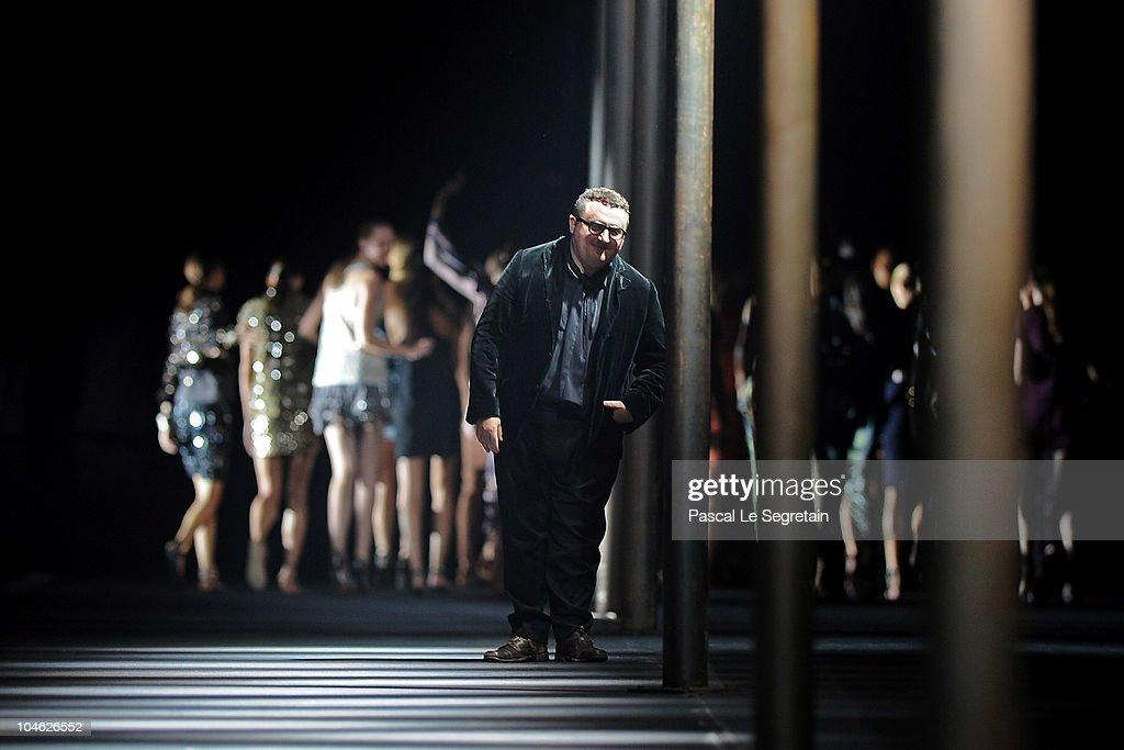 Designer Alber Elbaz walks the runway during the Lanvin Ready to Wear Spring/Summer 2011 show during Paris Fashion Week at Halle Freyssinet on...