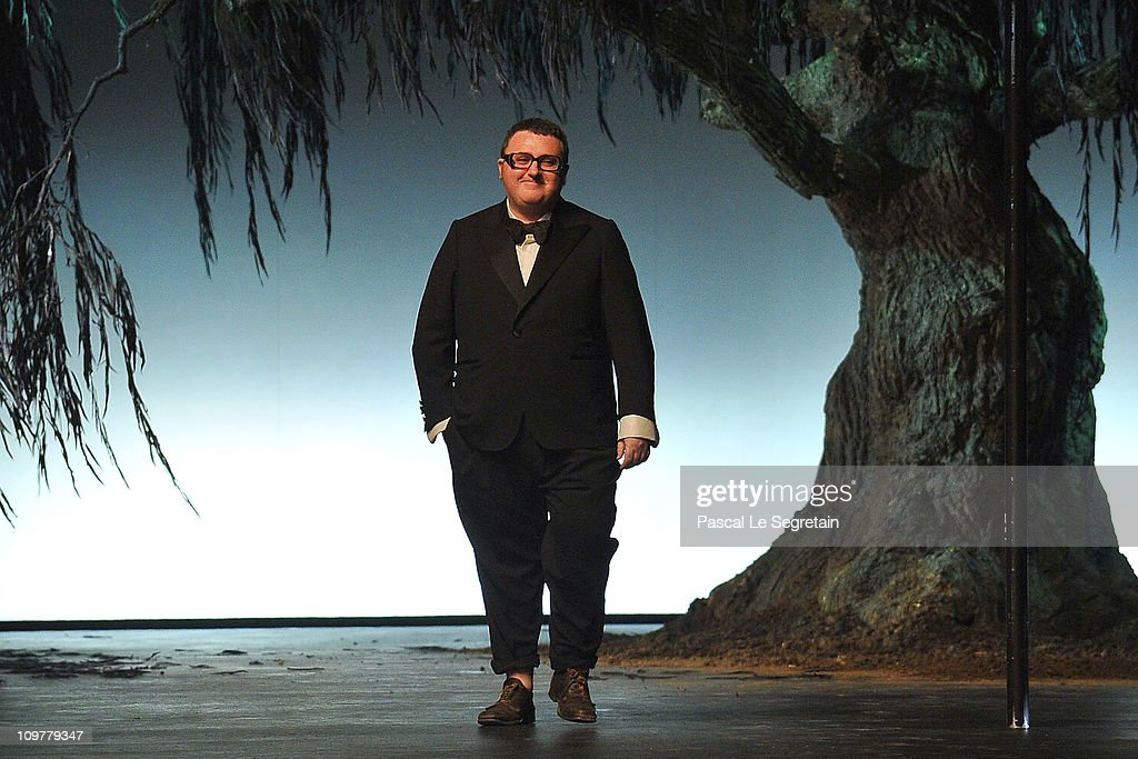 Designer <a gi-track='captionPersonalityLinkClicked' href=/galleries/search?phrase=Alber+Elbaz&family=editorial&specificpeople=783481 ng-click='$event.stopPropagation()'>Alber Elbaz</a> walks the runway during the Lanvin Ready to Wear Autumn/Winter 2011/2012 show during Paris Fashion Week at Espace Ephemere Tuileries on March 4, 2011 in Paris, France.
