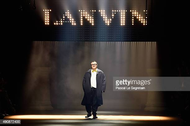 Designer Alber Elbaz walks the runway during the Lanvin show as part of the Paris Fashion Week Womenswear Spring/Summer 2016 on October 1 2015 in...