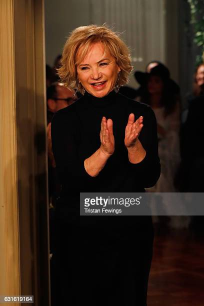 Designer Alberta Ferretti acknowledges the applause of the audience at the Alberta Ferretti show during Milan Men's Fashion Week Fall/Winter 2017/18...