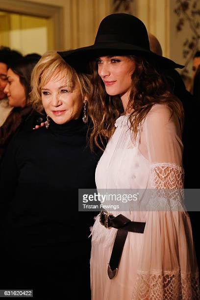 Designer Alberta Ferretti and Elisa Sednaoui attend the Alberta Ferretti show during Milan Men's Fashion Week Fall/Winter 2017/18 on January 13 2017...
