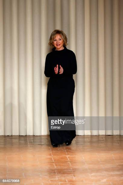 Designer Alberta Ferretti walks the runway at the Alberta Ferretti show during Milan Fashion Week Fall/Winter 2017/18 on February 22 2017 in Milan...