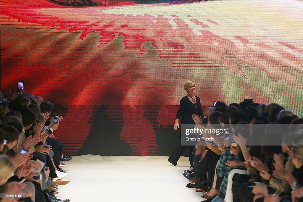 Designer Alberta Ferretti walks the runway during the Alberta Ferretti fashion show as part of Milan Fashion Week Spring/Summer 2016 on September 23...