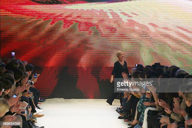 Designer Alberta Ferretti walks the runway during the Alberta Ferretti fashion show as part of Milan Fashion Week Spring/Summer 2016 on September 23...