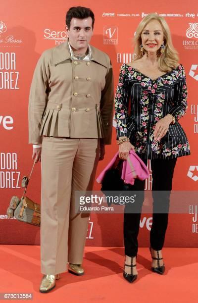 Designer Alejandro Gomez Palomo and Carmen Lomana attend the 'El Jugador de Ajedrez' photocall at Gran Via cinema on April 25 2017 in Madrid Spain