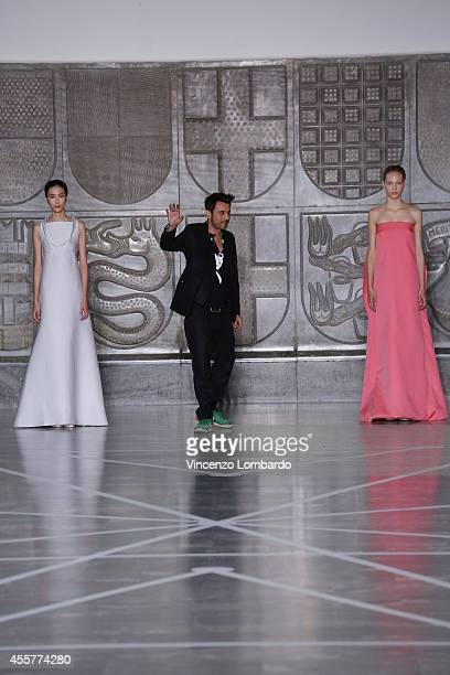 Designer Alessandro De Benedetti acknowledges the applause of the public after the Mila Schon Show as part of Milan Fashion Week Womenswear...