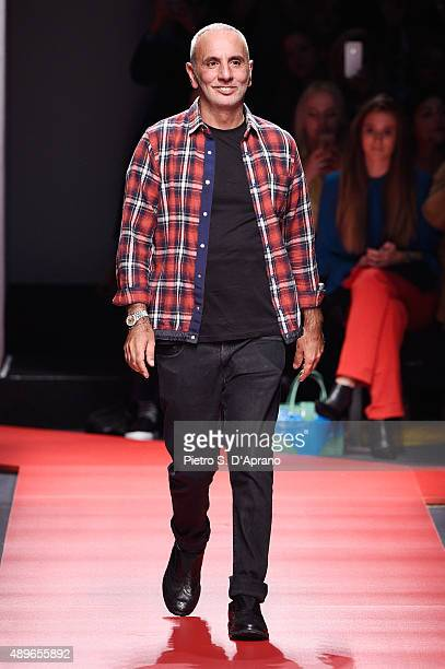 Designer Alessandro Dell'Acqua walks the runway during the N21 fashion show as part of Milan Fashion Week Spring/Summer 2016 on September 23 2015 in...