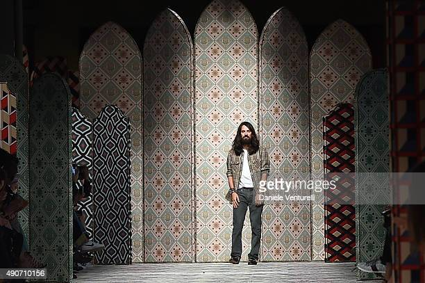 Designer Alessandro Michele aknowledge the applause of the public after the Gucci show as a part of Milan Fashion Week Spring/Summer 2016 on...