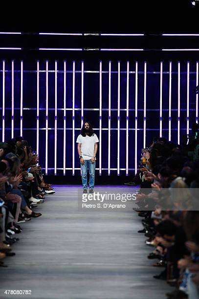 Designer Alessandro Michele walks runway after the GUCCI fashion show as part of Milan Men's Fashion Week Spring/Summer 2016 on June 22 2015 in Milan...