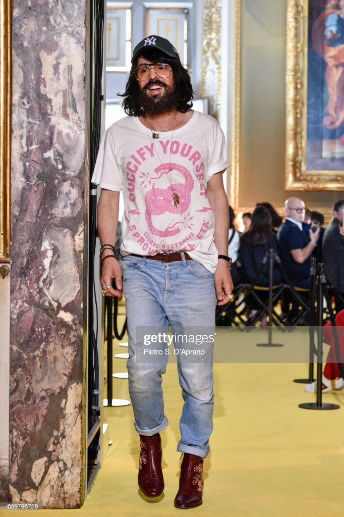 Designer Alessandro Michele walks the runway at the Gucci Cruise 2018 show at Palazzo Pitti on May 29, 2017 in Florence, Italy.