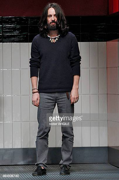 Designer Alessandro Michele walks the runway at the Gucci show during the Milan Fashion Week Autumn/Winter 2015 on February 25 2015 in Milan Italy