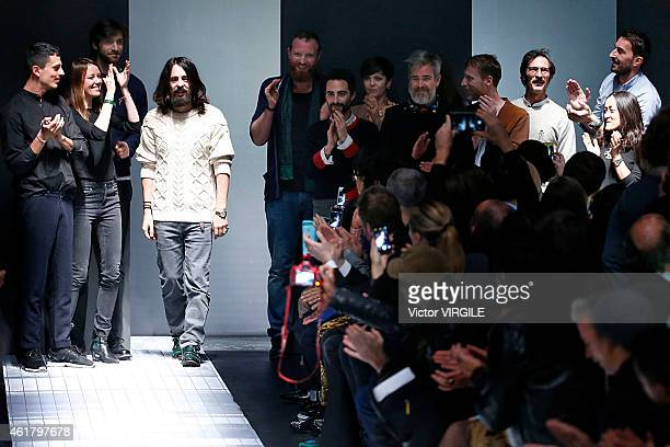 Designer Alessandro Michele walks the runway during the Gucci show as part of Milan Menswear Fashion Week Fall Winter 2015/2016 on January 19 2015 in...