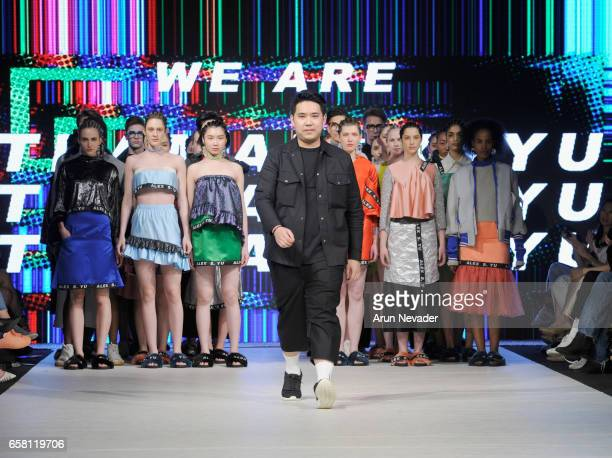 Designer Alex S Yu walks the runway at Vancouver Fashion Week Fall/Winter 2017 at Chinese Cultural Centre of Greater Vancouver on March 26 2017 in...