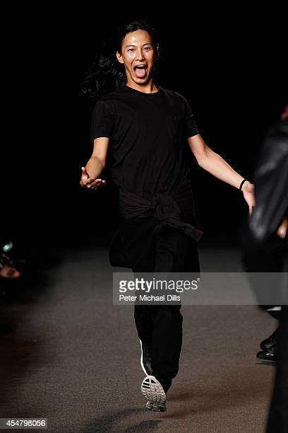 Designer Alexander Wang appears on the runway at the Alexander Wang fashion show during MercedesBenz Fashion Week Spring 2015 at Pier 94 on September...